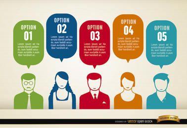 Nubes sociales infografía personas grupo opiniones