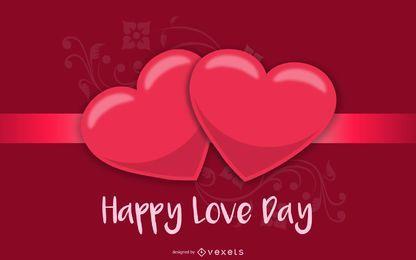 Tarjeta de felicitación roja brillante de la tarjeta del día de San Valentín