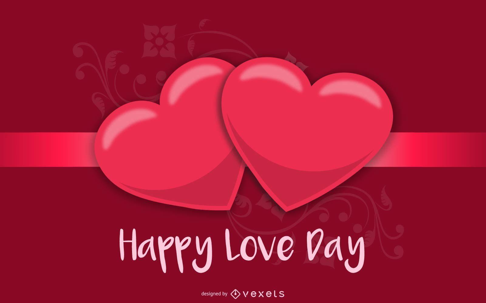 Tarjeta de felicitación de San Valentín rojo brillante