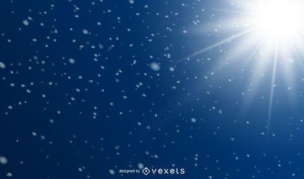 Fondo azul de resplandores solares y destellos nevados