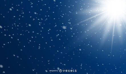 Sun Glares & Snowy Sparkles Blue Background