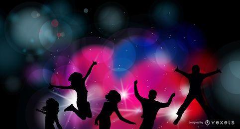 Fundo colorido de celebração de festa à noite