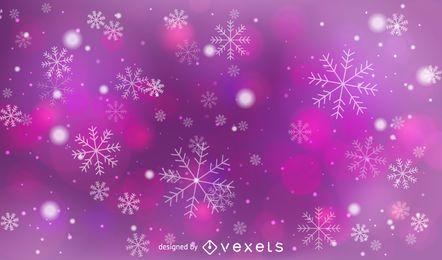 Fondo Bokeh rosa y morado con copos de nieve