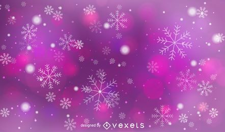 Fondo rosado y morado de Bokeh con copos de nieve