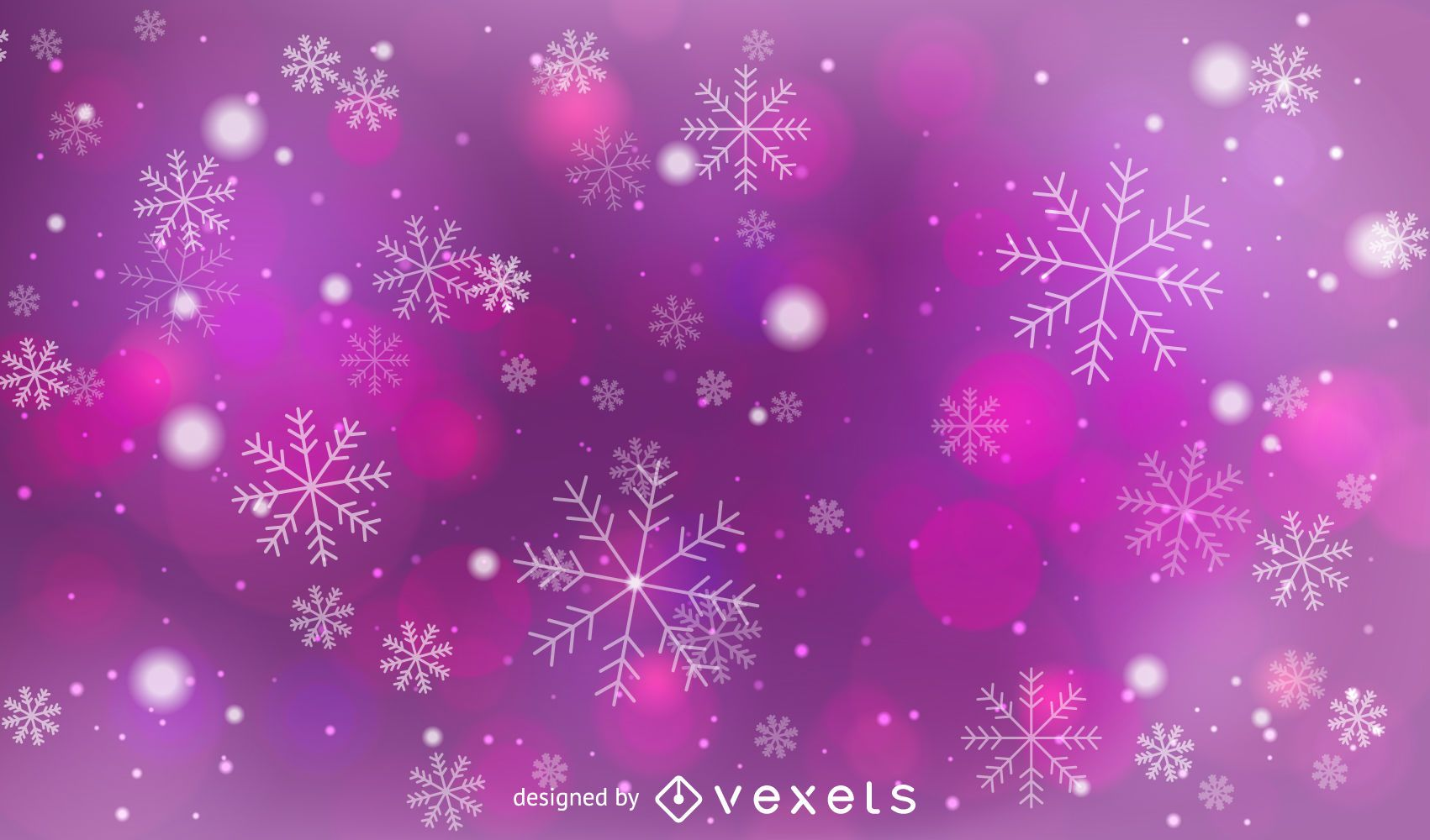 Pink & Purple Bokeh Background with Snowflakes