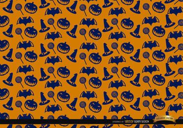 Blue Halloween texture on orange background