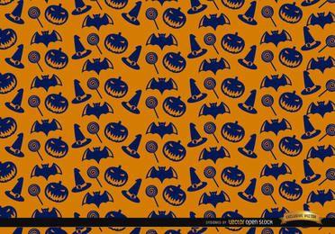 Textura de Halloween azul em fundo laranja