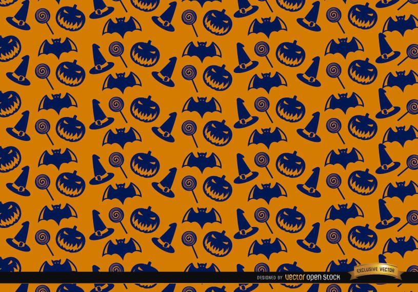 Blue Halloween Texture On Orange Background Vector Download