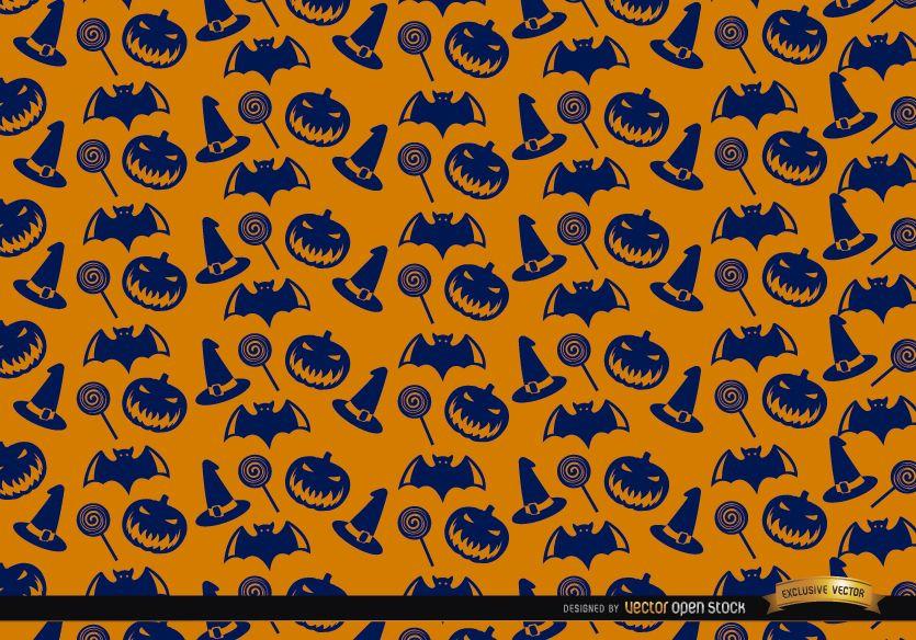 Blue Halloween texture on orange background