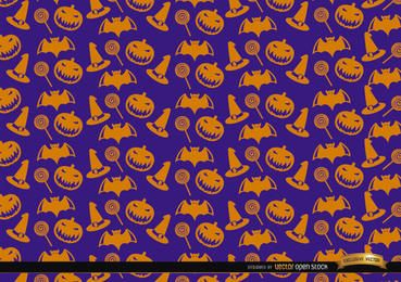 Orange Halloween objects texture on purple background