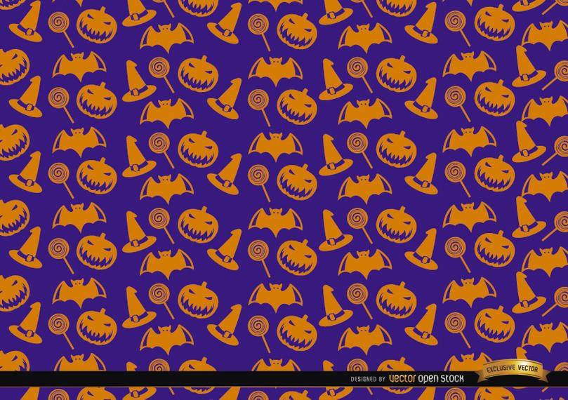 Laranja Halloween objetos textura no fundo roxo