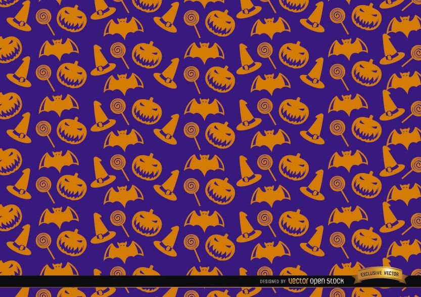 Orange Halloween objects texture on purple background