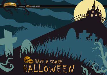 Cartaz assustador de Halloween com cemitério e casa caçada