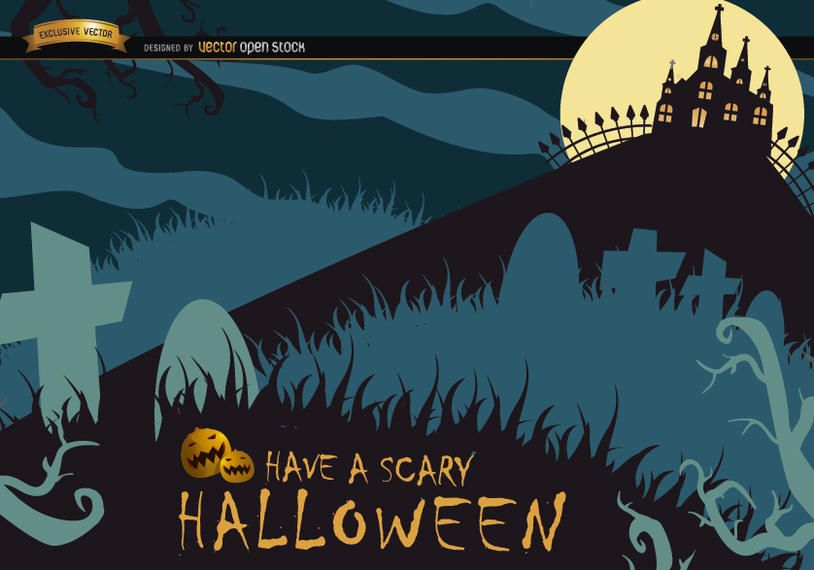 Scary Halloween poster with graveyard & hunted house