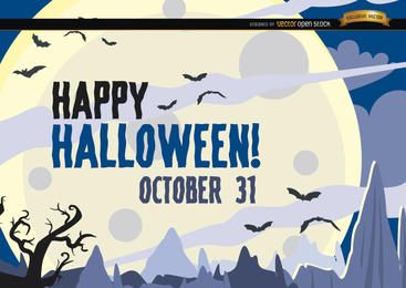 Bastões de cartaz de Halloween caçado voando sobre a lua