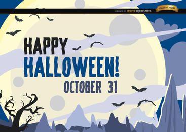 Gejagte Halloween-Plakatschläger, die über Mond fliegen