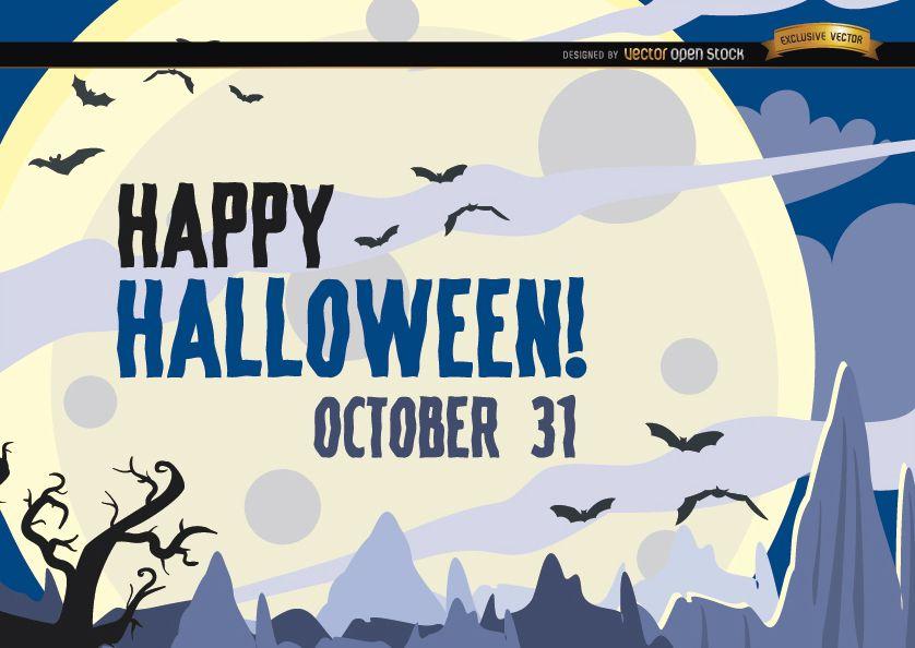 Cartel de Halloween cazado murciélagos volando sobre la luna