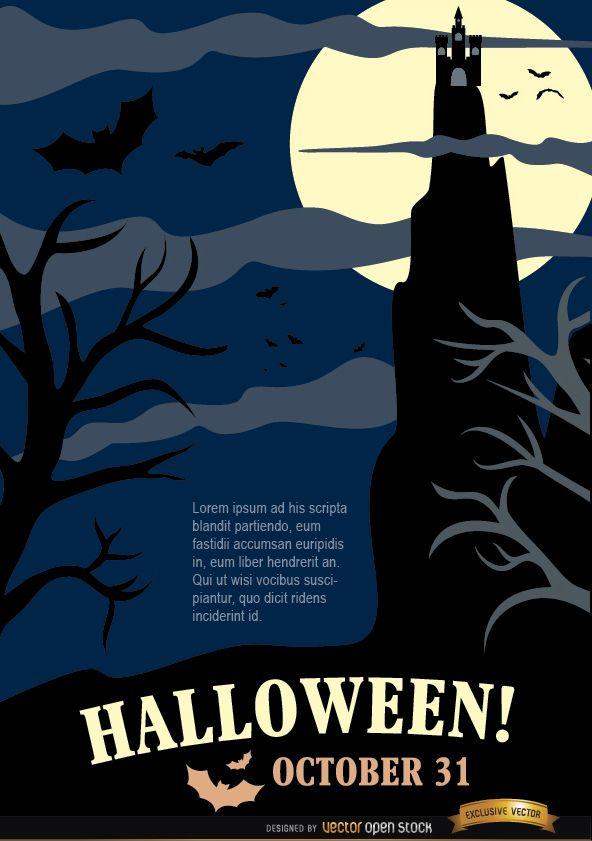 Cartel de fiesta de noche de Halloween con casa perseguida y árboles muertos