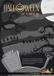 Cementerio de la noche de Halloween espeluznante y fondo de árboles torcidos