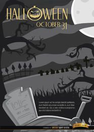 Creepy Halloween Night Graveyard e fundo de árvores tortas