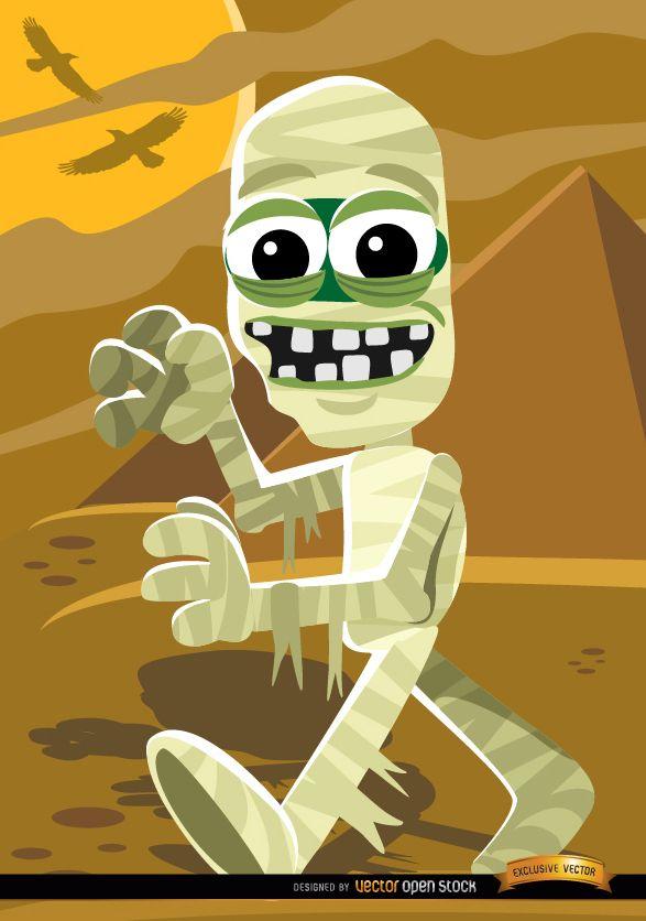 Personagem de desenho animado de múmia de Halloween com pirâmide
