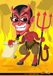 Desenhos animados do mal de Halloween assustadores segurando uma mensagem de papel