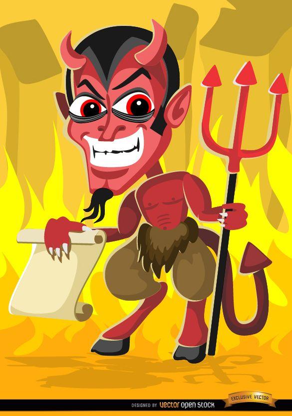 Espeluznante Halloween Evil Cartoon con mensaje de papel