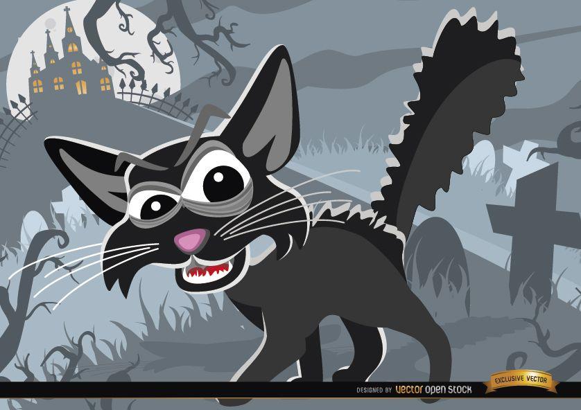 Gato de dibujos animados espeluznante sobre fondo de Halloween de cementerio