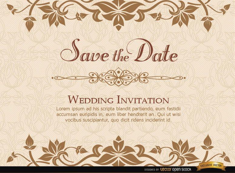 Plantilla floral de oro de la invitación de la boda