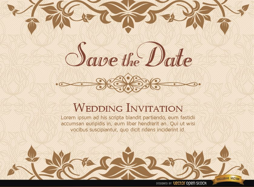 Wedding Invitation Card Sample: Golden Floral Wedding Invitation Template