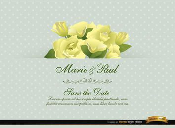 Cartão do convite do casamento da flor do Gardenia
