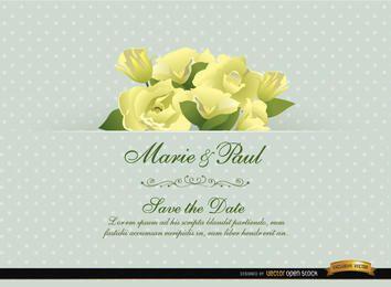 Tarjeta de invitación de boda de flor de gardenia