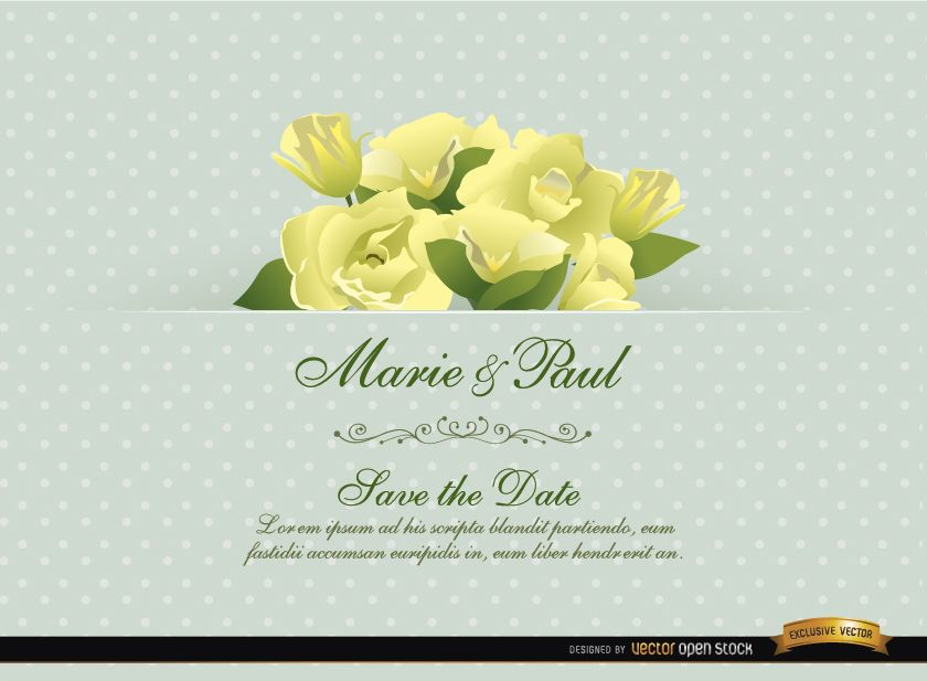 Tarjeta de invitación de boda con flores de Gardenia