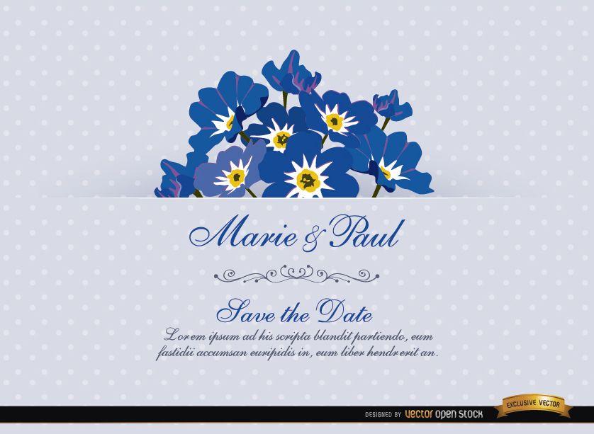 Cartão de convite de casamento da flor Myosotis