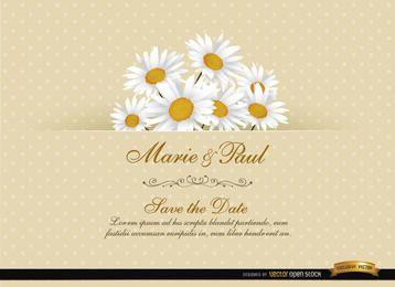 Cartão floral do convite do casamento da margarida