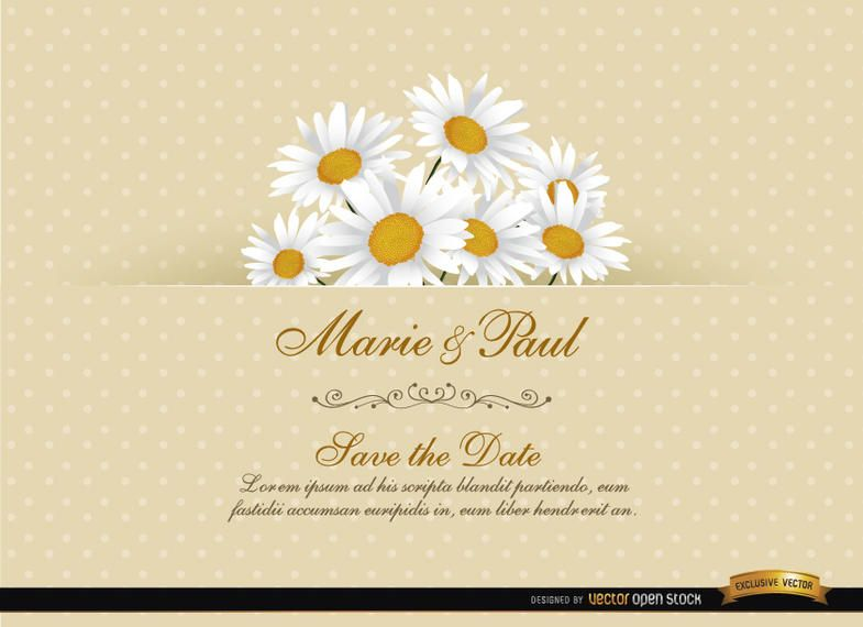 Tarjeta floral de la invitación de la boda de la margarita