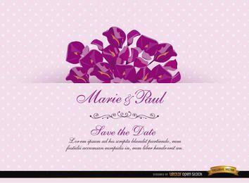 Tarjeta rosada de la invitación con Acacia