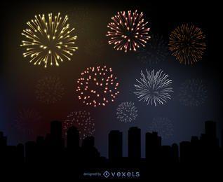 Glühendes Feuerwerk über einer Stadt