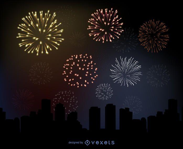 Fogo de artifício brilhante sobre uma cidade