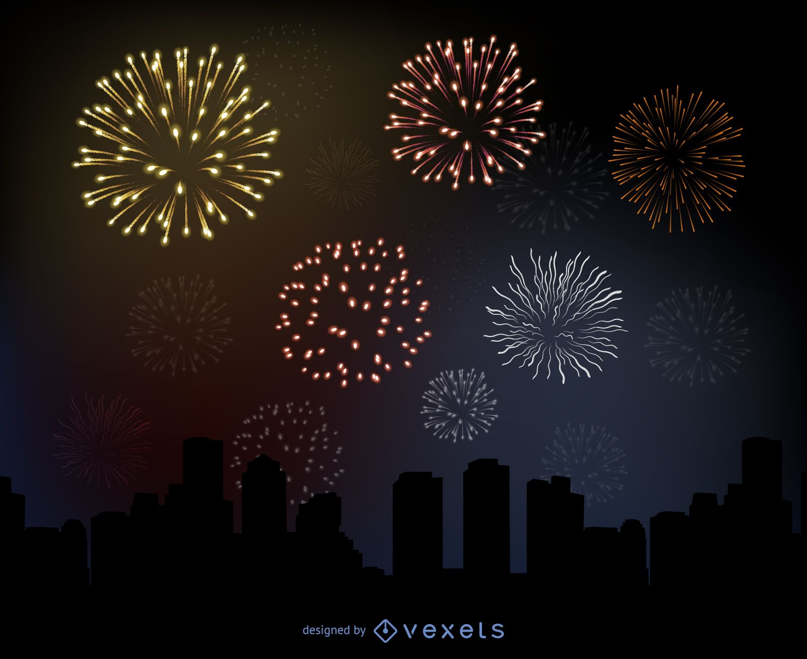 Glowing Firework over a City