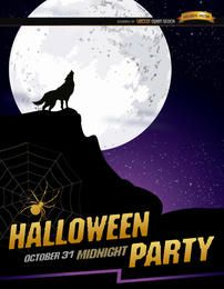 Cartel de Halloween de luna llena aullido de lobo