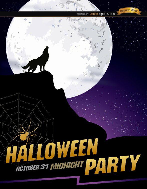 Wolf howl full moon Halloween poster - Vector download