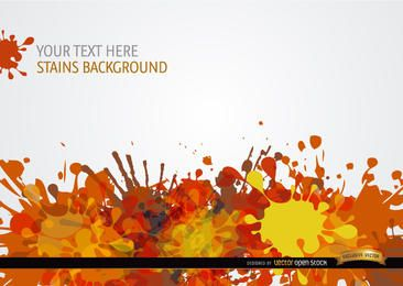 Yellow orange red paint drops background