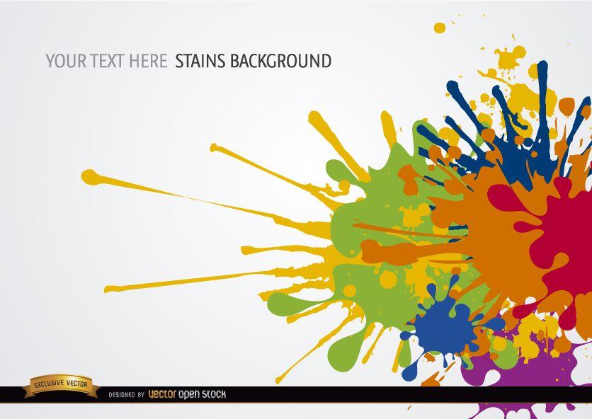 Manchas de pintura de colores de fondo descargar vector for Pintura ligera de color topo