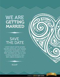Tarjeta de invitación de boda corazón artístico