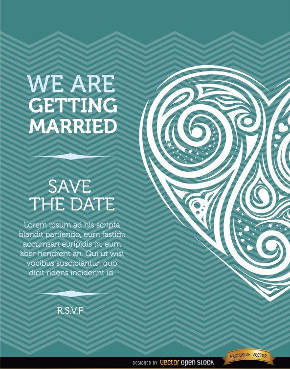 Tarjeta de invitación de matrimonio de corazón artístico