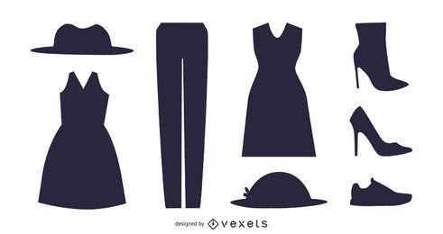 Pacote de acessórios de moda de mulheres de silhueta