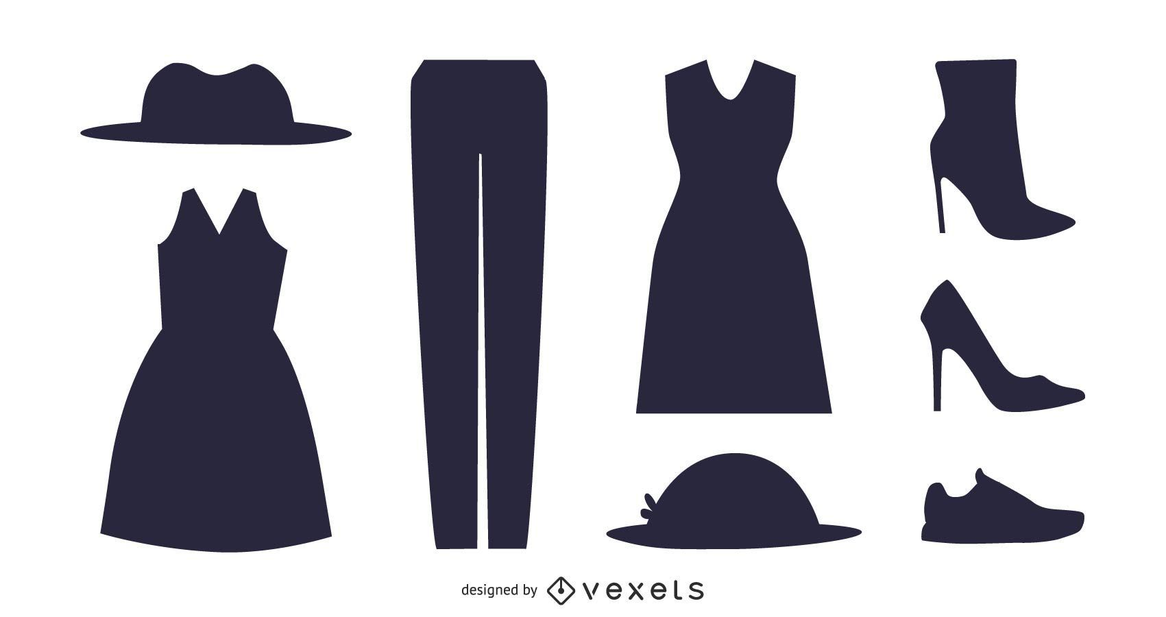Pacote de acessórios de moda feminina silhueta