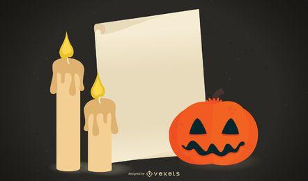 Design assustador de Halloween com nota de papel