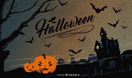 Creepy Pumpkin & Bats Halloween Night Background